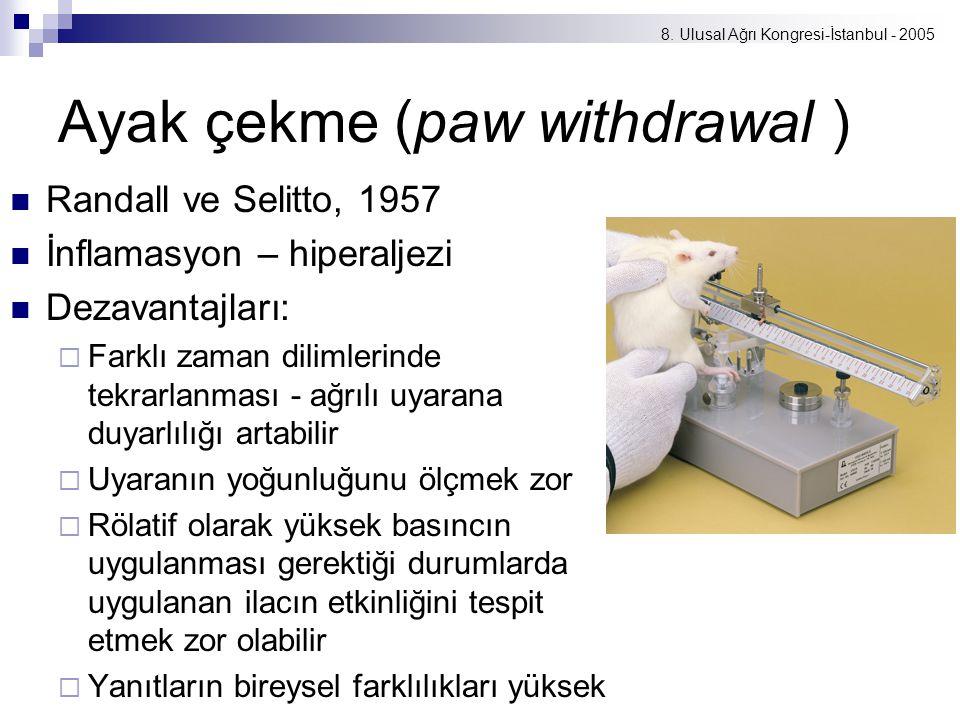 8. Ulusal Ağrı Kongresi-İstanbul - 2005 Ayak çekme (paw withdrawal ) Randall ve Selitto, 1957 İnflamasyon – hiperaljezi Dezavantajları:  Farklı zaman
