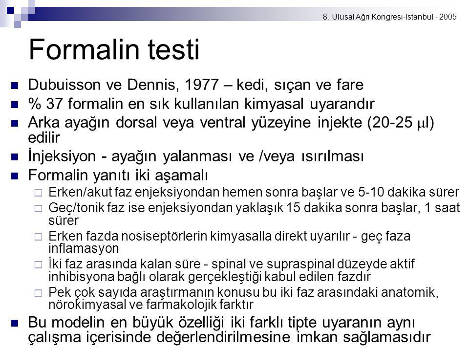 8. Ulusal Ağrı Kongresi-İstanbul - 2005 Formalin testi Dubuisson ve Dennis, 1977 – kedi, sıçan ve fare % 37 formalin en sık kullanılan kimyasal uyaran