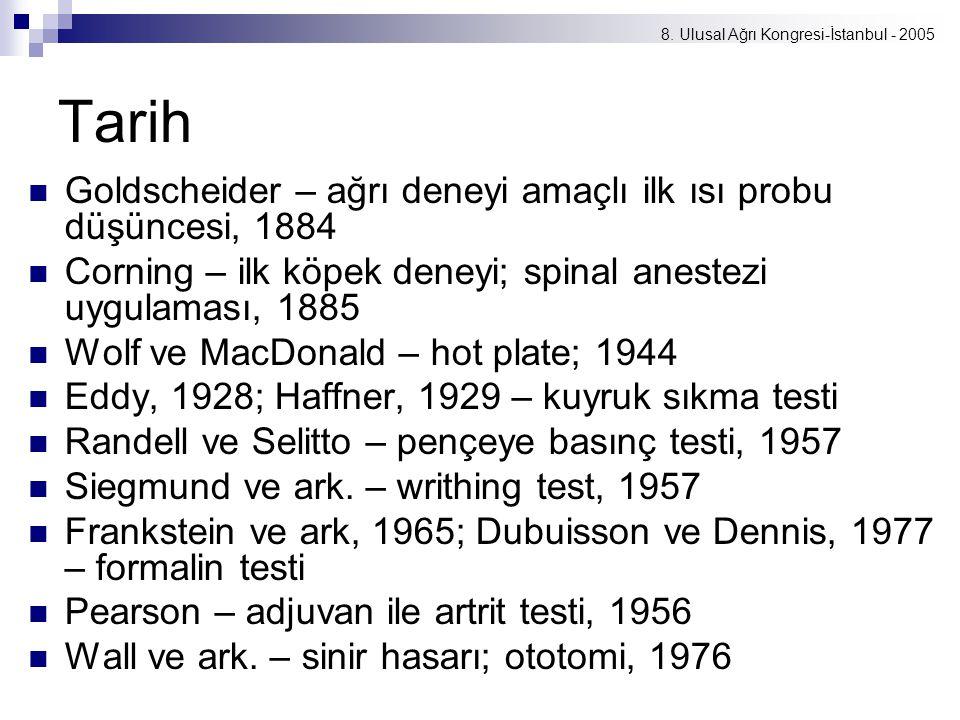 8. Ulusal Ağrı Kongresi-İstanbul - 2005 Tarih Goldscheider – ağrı deneyi amaçlı ilk ısı probu düşüncesi, 1884 Corning – ilk köpek deneyi; spinal anest