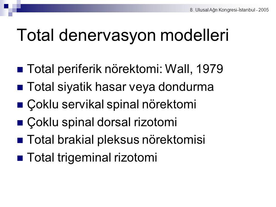 8. Ulusal Ağrı Kongresi-İstanbul - 2005 Total denervasyon modelleri Total periferik nörektomi: Wall, 1979 Total siyatik hasar veya dondurma Çoklu serv