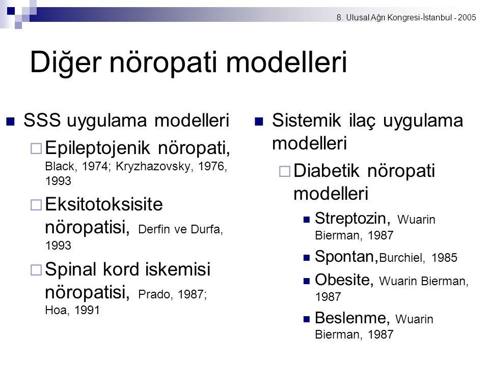 8. Ulusal Ağrı Kongresi-İstanbul - 2005 Diğer nöropati modelleri SSS uygulama modelleri  Epileptojenik nöropati, Black, 1974; Kryzhazovsky, 1976, 199