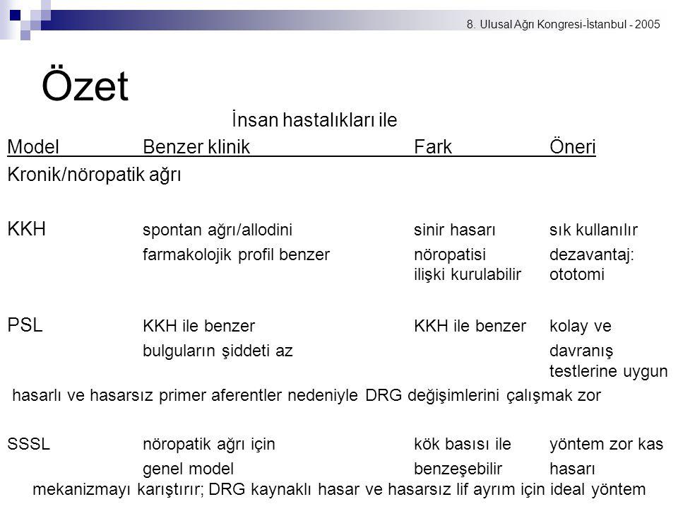 8. Ulusal Ağrı Kongresi-İstanbul - 2005 Özet İnsan hastalıkları ile ModelBenzer klinikFarkÖneri Kronik/nöropatik ağrı KKH spontan ağrı/allodinisinir h
