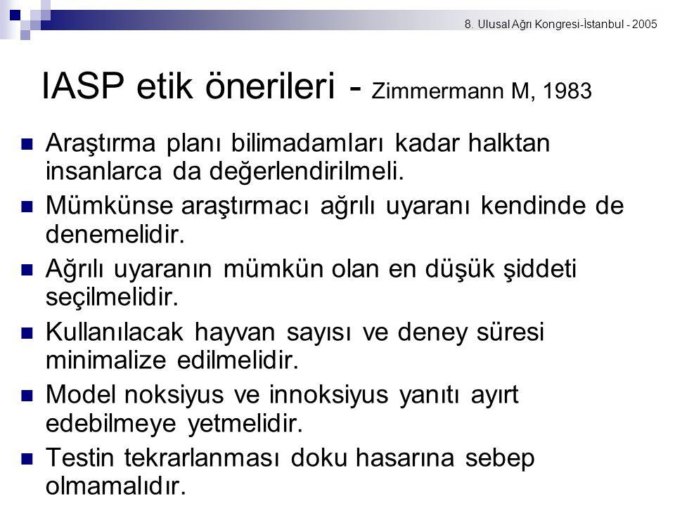 8. Ulusal Ağrı Kongresi-İstanbul - 2005 IASP etik önerileri - Zimmermann M, 1983 Araştırma planı bilimadamları kadar halktan insanlarca da değerlendir
