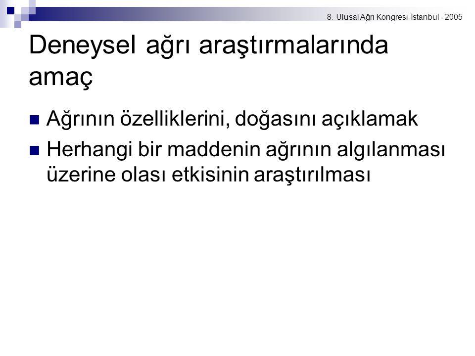 8. Ulusal Ağrı Kongresi-İstanbul - 2005 Deneysel ağrı araştırmalarında amaç Ağrının özelliklerini, doğasını açıklamak Herhangi bir maddenin ağrının al