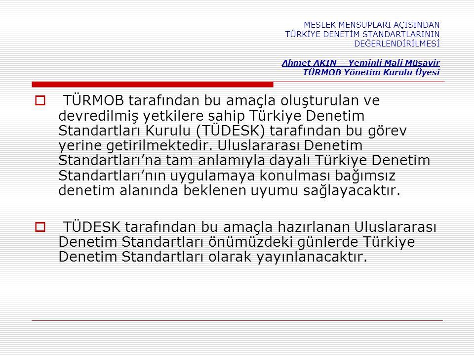 MESLEK MENSUPLARI AÇISINDAN TÜRKİYE DENETİM STANDARTLARININ DEĞERLENDİRİLMESİ Ahmet AKIN – Yeminli Mali Müşavir TÜRMOB Yönetim Kurulu Üyesi  TÜRMOB tarafından bu amaçla oluşturulan ve devredilmiş yetkilere sahip Türkiye Denetim Standartları Kurulu (TÜDESK) tarafından bu görev yerine getirilmektedir.