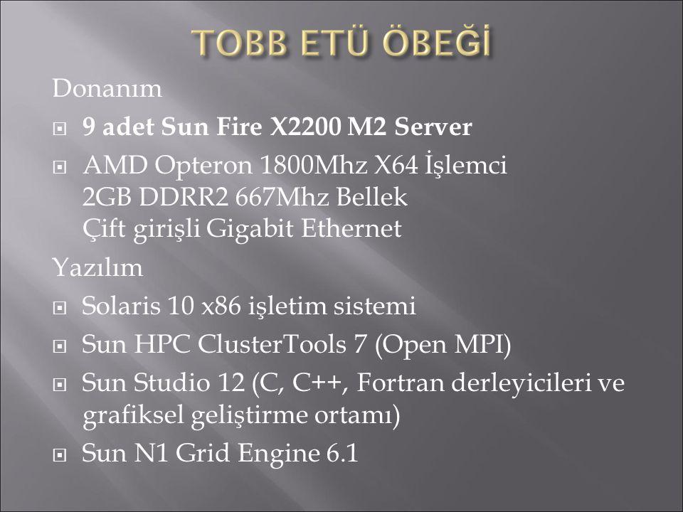 Donanım  9 adet Sun Fire X2200 M2 Server  AMD Opteron 1800Mhz X64 İşlemci 2GB DDRR2 667Mhz Bellek Çift girişli Gigabit Ethernet Yazılım  Solaris 10 x86 işletim sistemi  Sun HPC ClusterTools 7 (Open MPI)  Sun Studio 12 (C, C++, Fortran derleyicileri ve grafiksel geliştirme ortamı)  Sun N1 Grid Engine 6.1