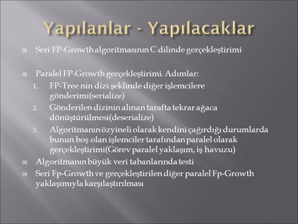  Seri FP-Growth algoritmasının C dilinde gerçekleştirimi  Paralel FP-Growth gerçekleştirimi. Adımlar: 1. FP-Tree nin dizi şeklinde diğer işlemcilere