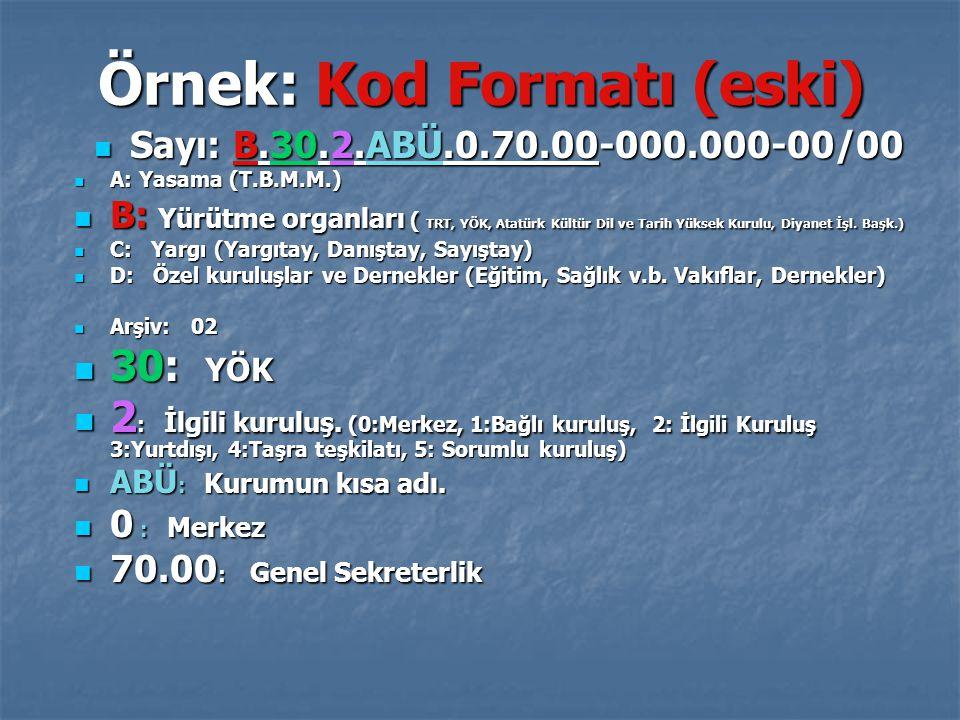 Örnek: Kod Formatı (eski) Sayı: B.30.2.ABÜ.0.70.00-000.000-00/00 Sayı: B.30.2.ABÜ.0.70.00-000.000-00/00 A: Yasama (T.B.M.M.) A: Yasama (T.B.M.M.) B: Yürütme organları ( TRT, YÖK, Atatürk Kültür Dil ve Tarih Yüksek Kurulu, Diyanet İşl.