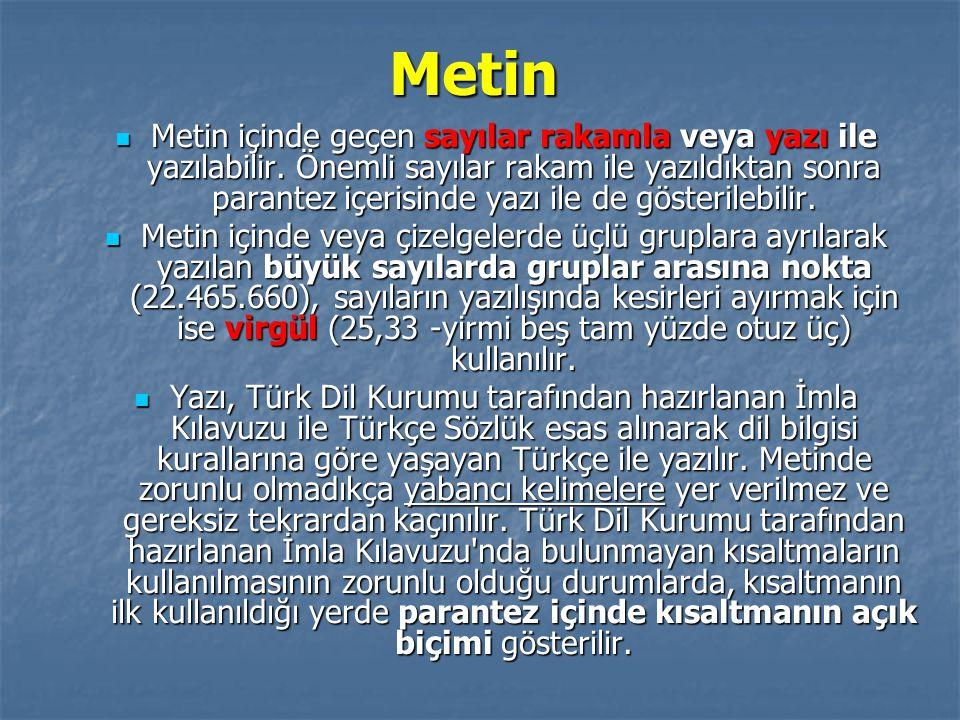 Metin Metin içinde geçen sayılar rakamla veya yazı ile yazılabilir. Önemli sayılar rakam ile yazıldıktan sonra parantez içerisinde yazı ile de gösteri