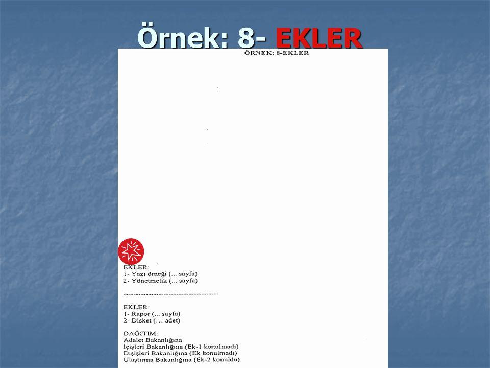 Örnek: 8- EKLER