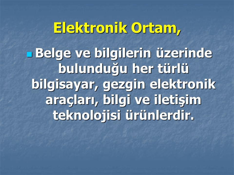 Elektronik Ortam, Belge ve bilgilerin üzerinde bulunduğu her türlü bilgisayar, gezgin elektronik araçları, bilgi ve iletişim teknolojisi ürünlerdir.