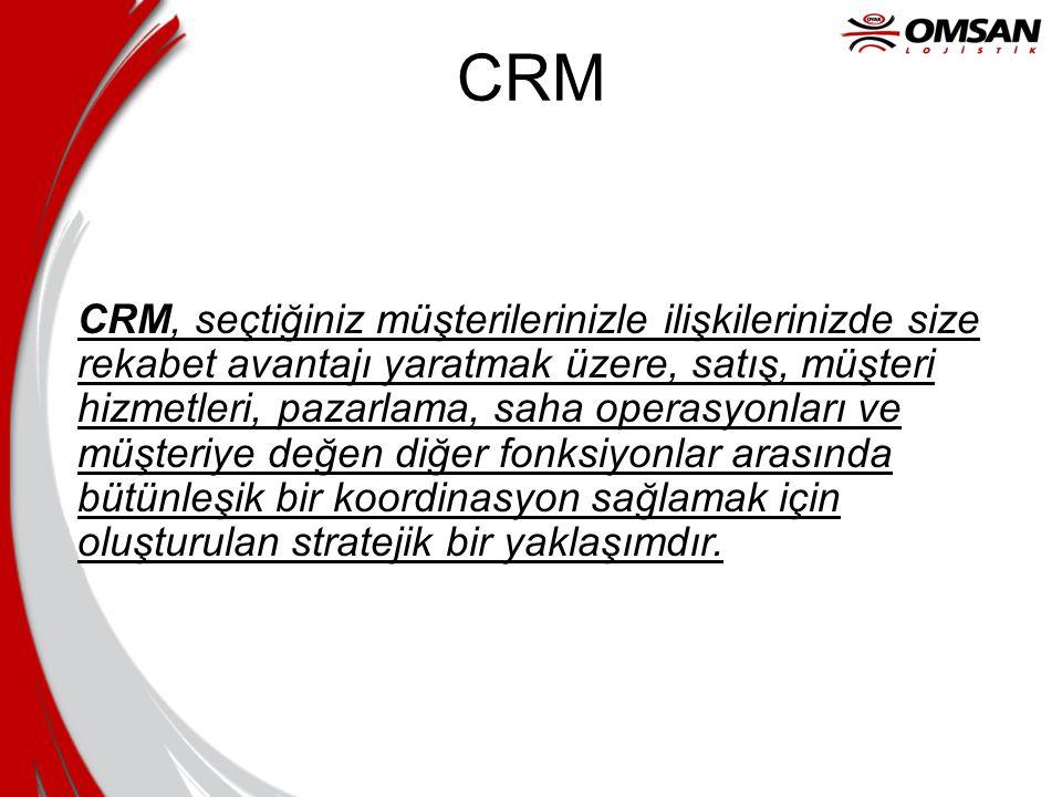 CRM CRM, seçtiğiniz müşterilerinizle ilişkilerinizde size rekabet avantajı yaratmak üzere, satış, müşteri hizmetleri, pazarlama, saha operasyonları ve müşteriye değen diğer fonksiyonlar arasında bütünleşik bir koordinasyon sağlamak için oluşturulan stratejik bir yaklaşımdır.