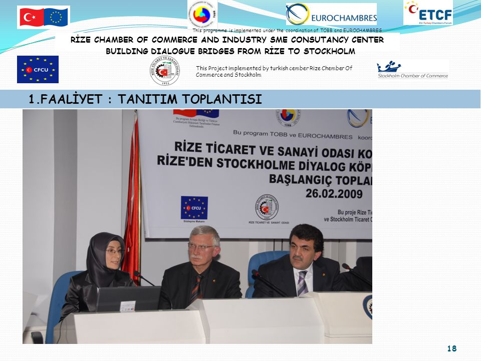 19 1.FAALİYET : TANITIM TOPLANTISI RİZE CHAMBER OF COMMERCE AND INDUSTRY SME CONSUTANCY CENTER BUILDING DIALOGUE BRIDGES FROM RİZE TO STOCKHOLM This programme is implemented under the coordination of TOBB and EUROCHAMBRES This Project implemented by turkish cember Rize Chember Of Commerce and Stockholm