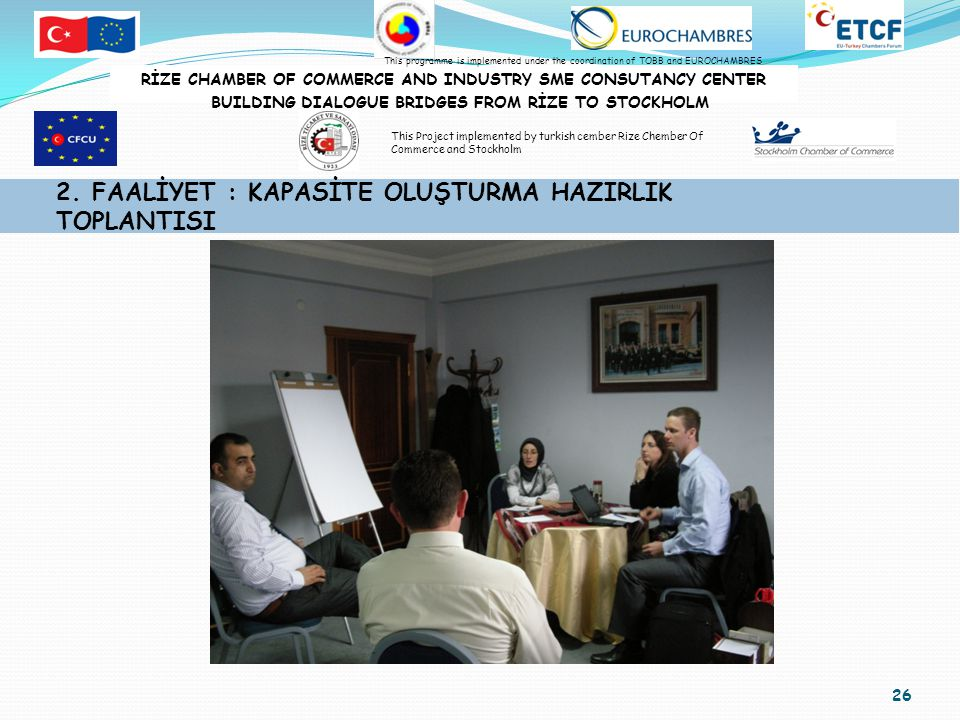 26 2. FAALİYET : KAPASİTE OLUŞTURMA HAZIRLIK TOPLANTISI RİZE CHAMBER OF COMMERCE AND INDUSTRY SME CONSUTANCY CENTER BUILDING DIALOGUE BRIDGES FROM RİZ