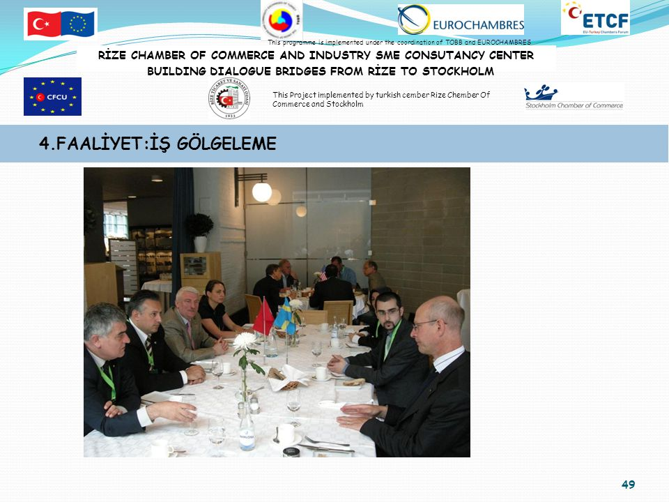 49 4.FAALİYET:İŞ GÖLGELEME RİZE CHAMBER OF COMMERCE AND INDUSTRY SME CONSUTANCY CENTER BUILDING DIALOGUE BRIDGES FROM RİZE TO STOCKHOLM This programme is implemented under the coordination of TOBB and EUROCHAMBRES This Project implemented by turkish cember Rize Chember Of Commerce and Stockholm