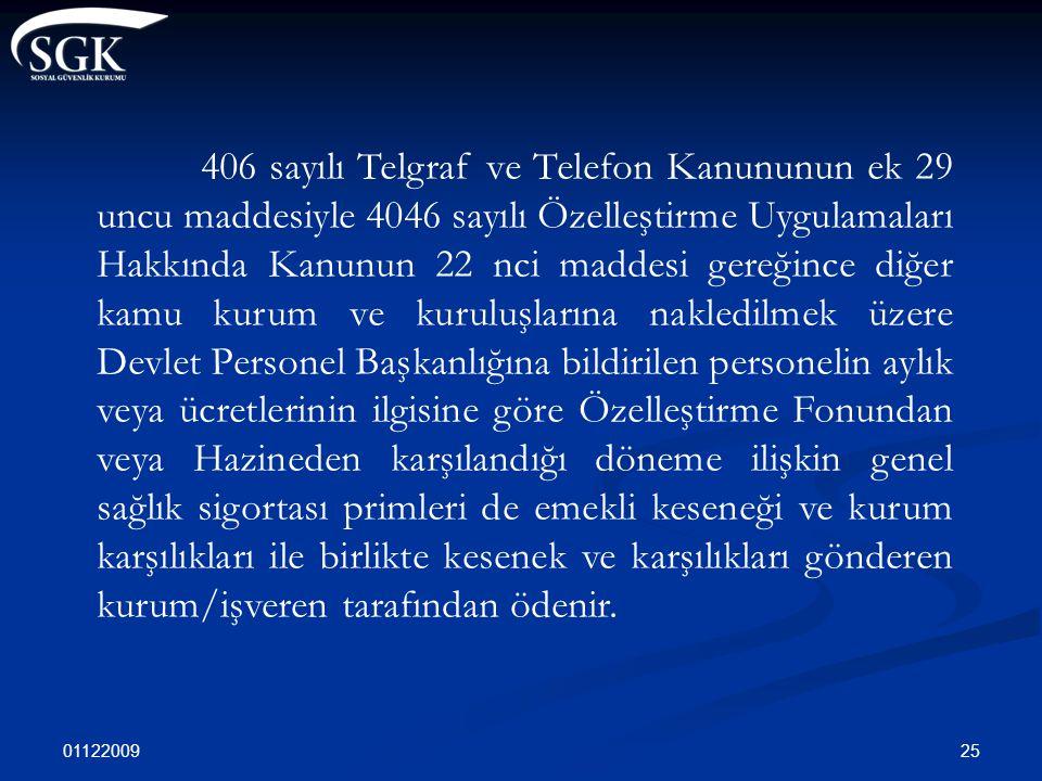 01122009 25 406 sayılı Telgraf ve Telefon Kanununun ek 29 uncu maddesiyle 4046 sayılı Özelleştirme Uygulamaları Hakkında Kanunun 22 nci maddesi gereği