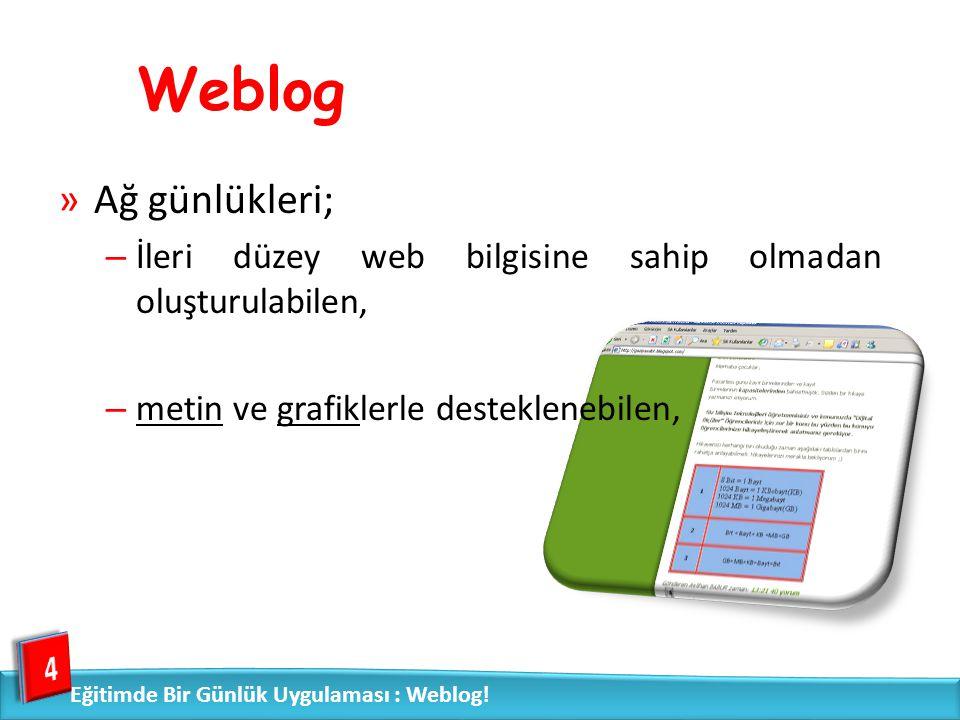 Weblog »Ağ günlükleri; – İleri düzey web bilgisine sahip olmadan oluşturulabilen, – metin ve grafiklerle desteklenebilen, 4 Eğitimde Bir Günlük Uygula