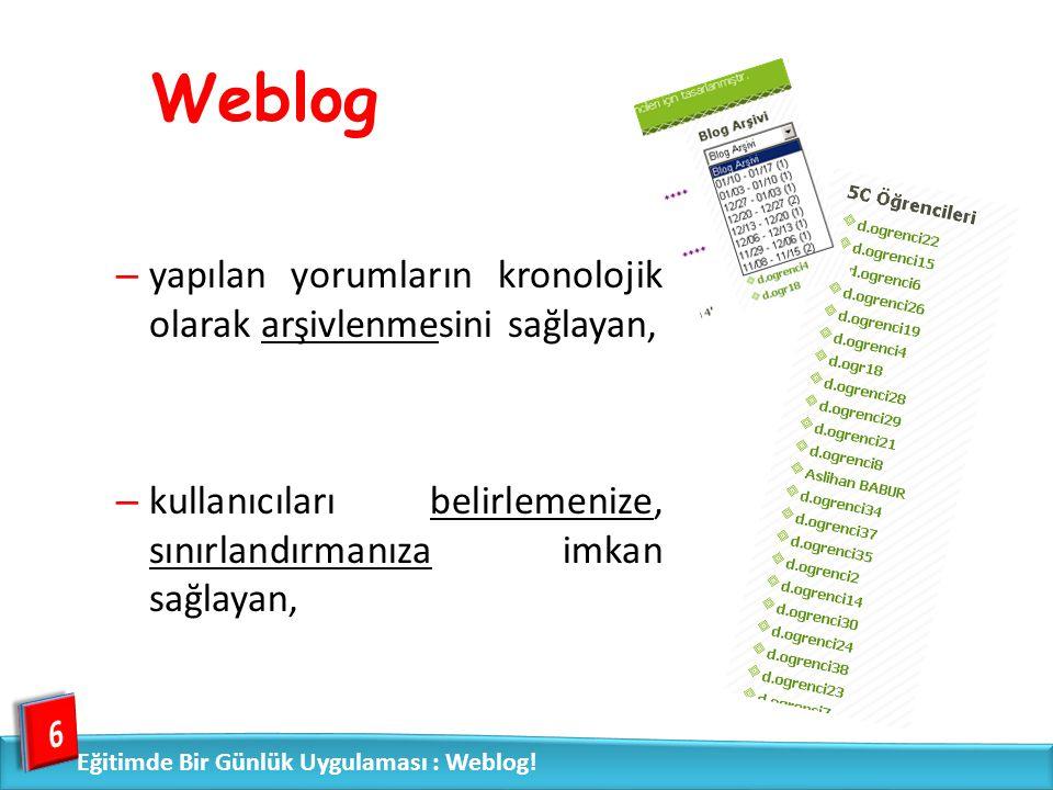 – yapılan yorumların kronolojik olarak arşivlenmesini sağlayan, – kullanıcıları belirlemenize, sınırlandırmanıza imkan sağlayan, 6 Weblog Eğitimde Bir