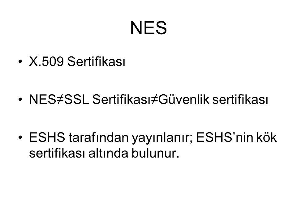 NES X.509 Sertifikası NES≠SSL Sertifikası≠Güvenlik sertifikası ESHS tarafından yayınlanır; ESHS'nin kök sertifikası altında bulunur.