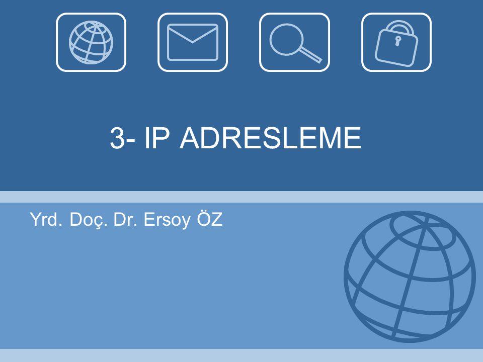 IP ( Internet Protocol) Yaygın olarak IPv4 adresler kullanılıyor.
