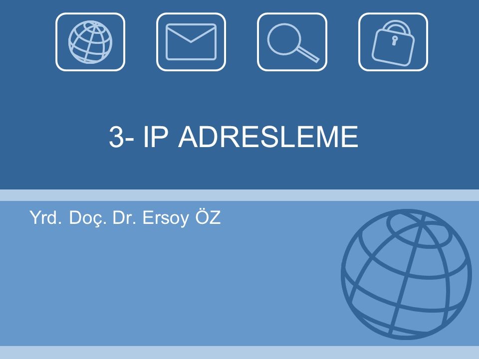 3- IP ADRESLEME Yrd. Doç. Dr. Ersoy ÖZ