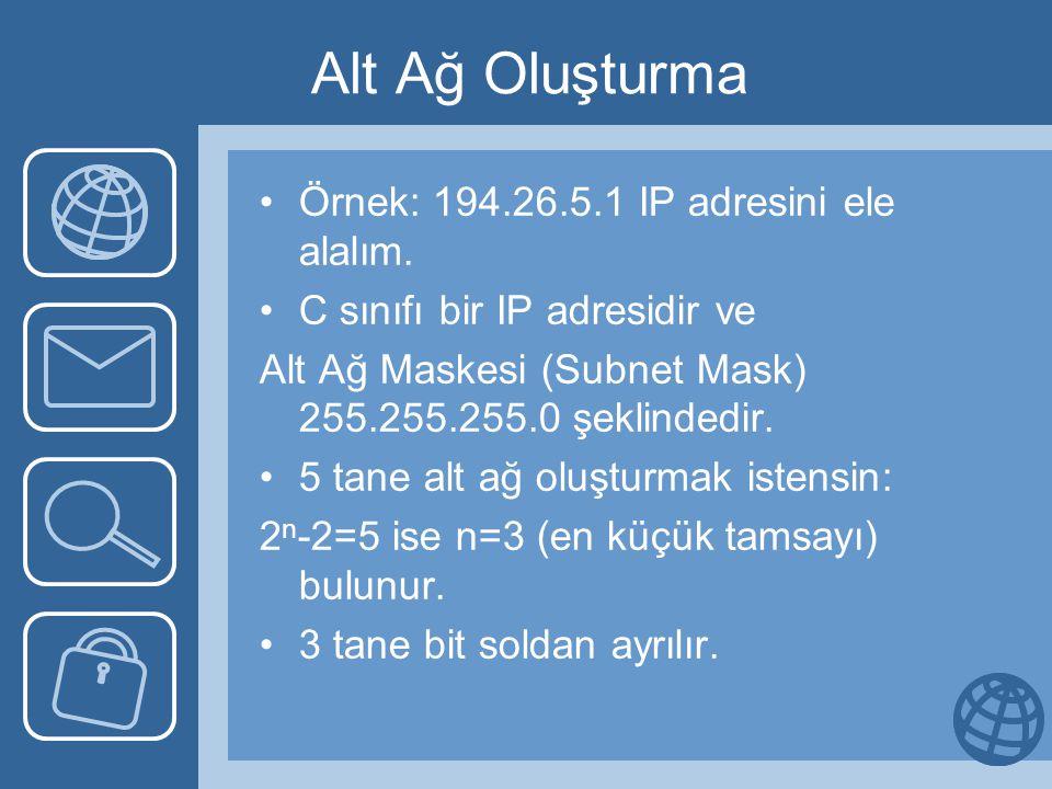 Alt Ağ Oluşturma Örnek: 194.26.5.1 IP adresini ele alalım. C sınıfı bir IP adresidir ve Alt Ağ Maskesi (Subnet Mask) 255.255.255.0 şeklindedir. 5 tane