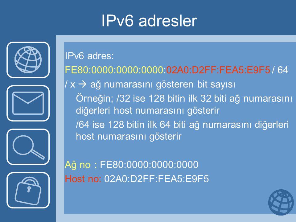 IPv6 adresler IPv6 adres: FE80:0000:0000:0000:02A0:D2FF:FEA5:E9F5 / 64 / x  ağ numarasını gösteren bit sayısı Örneğin; /32 ise 128 bitin ilk 32 biti