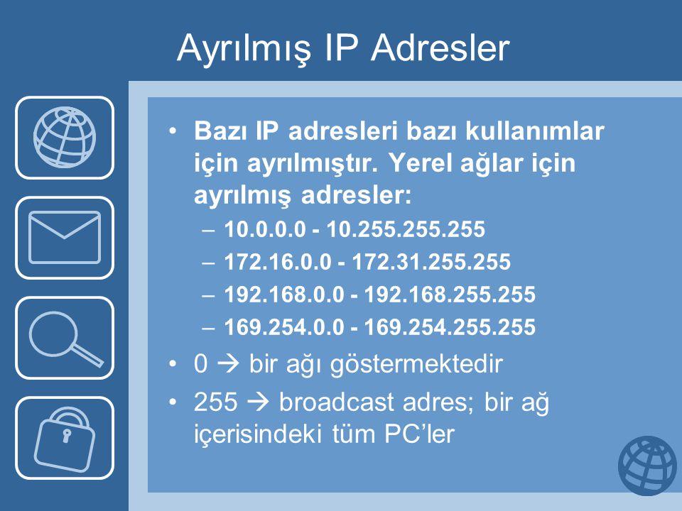 Ağ ve Broadcast Numaraları C sınıfı 192.23.123.2 adres için; –Ağ numarası: 192.23.123.0 –Bu ağdaki tüm PC'lere mesaj göndermek isteyen bir cihaz şu adrese mesajı atacaktır; 192.23.123.255 B sınıfı 124.50.120.2 adres için; –Ağ numarası: 124.50.0.0 –Bu ağdaki tüm PC'lere mesaj göndermek isteyen bir cihaz şu adrese mesajı atacaktır; 124.50.255.255