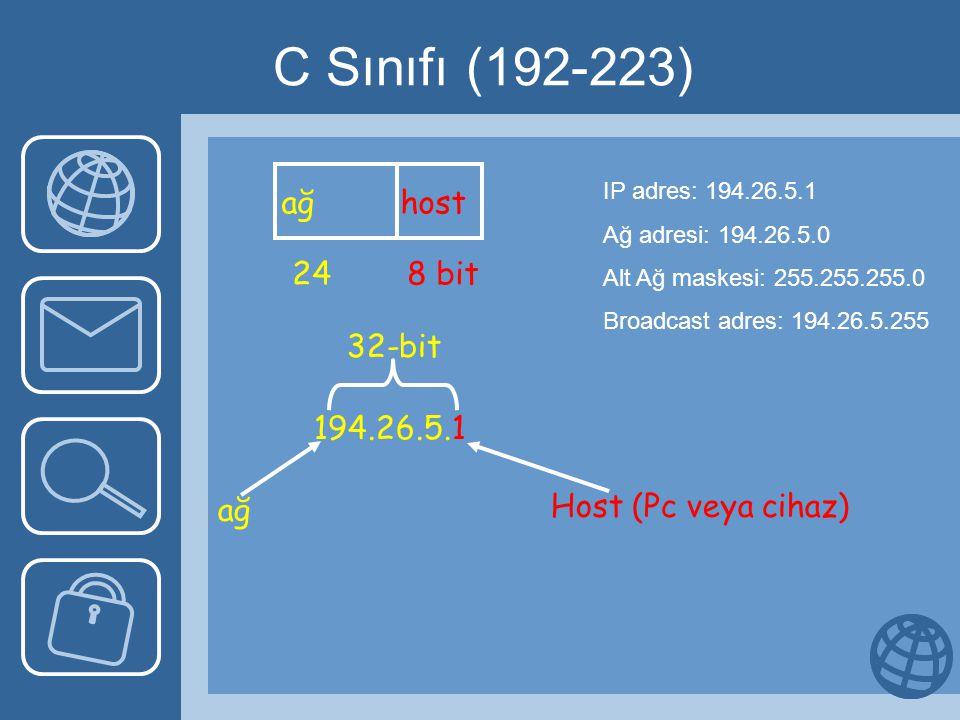 C Sınıfı (192-223) ağ host 24 8 bit 194.26.5.1 ağ 32-bit Host (Pc veya cihaz) IP adres: 194.26.5.1 Ağ adresi: 194.26.5.0 Alt Ağ maskesi: 255.255.255.0