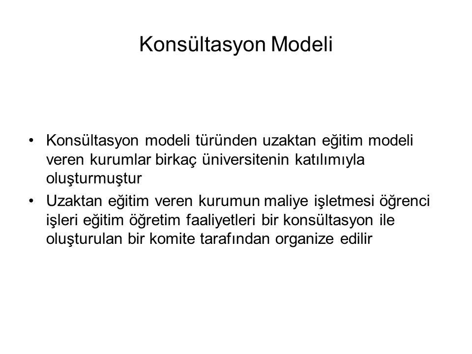 Konsültasyon Modeli Konsültasyon modeli türünden uzaktan eğitim modeli veren kurumlar birkaç üniversitenin katılımıyla oluşturmuştur Uzaktan eğitim ve