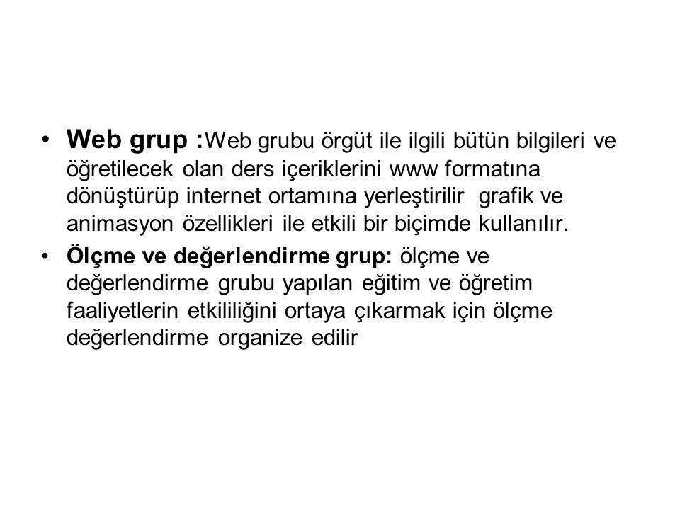 Web grup : Web grubu örgüt ile ilgili bütün bilgileri ve öğretilecek olan ders içeriklerini www formatına dönüştürüp internet ortamına yerleştirilir grafik ve animasyon özellikleri ile etkili bir biçimde kullanılır.