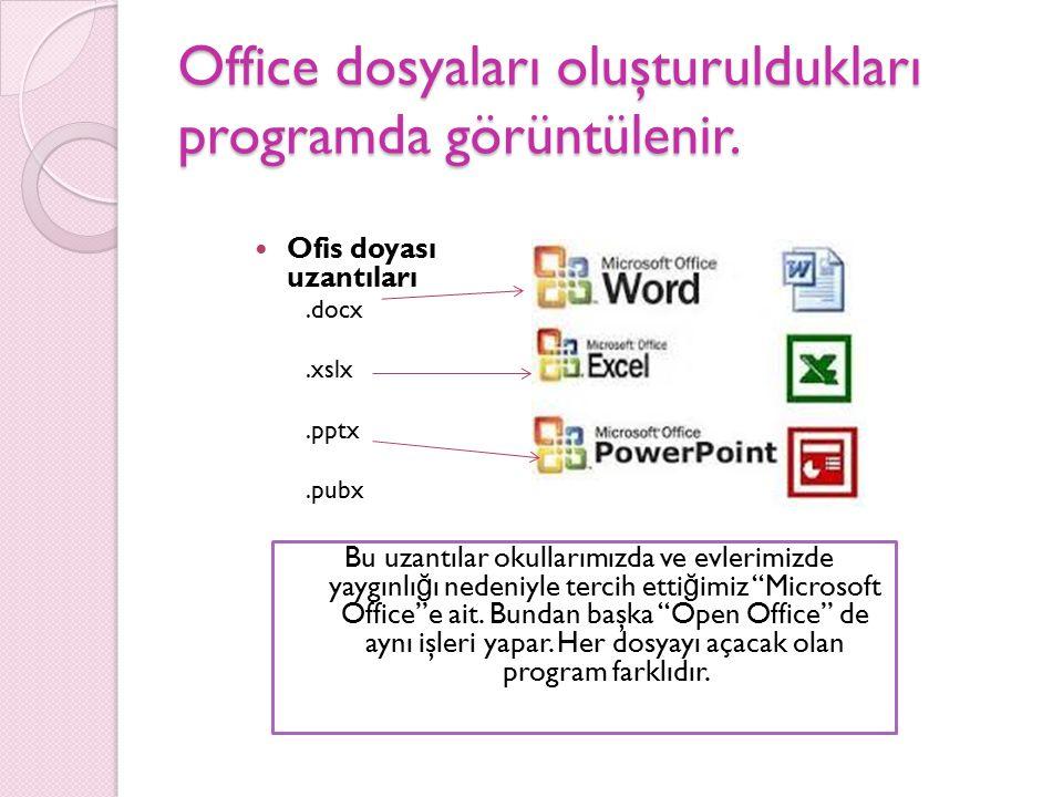 Office dosyaları oluşturuldukları programda görüntülenir. Ofis doyası uzantıları.docx.xslx.pptx.pubx Bu uzantılar okullarımızda ve evlerimizde yaygınl