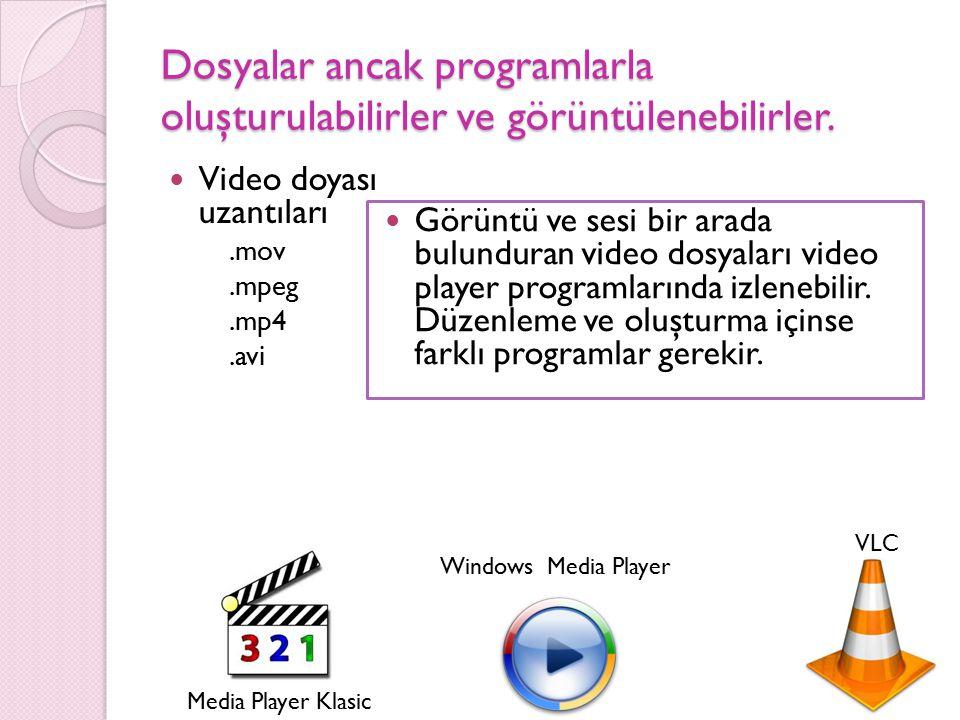 Dosyalar ancak programlarla oluşturulabilirler ve görüntülenebilirler. Video doyası uzantıları.mov.mpeg.mp4.avi Görüntü ve sesi bir arada bulunduran v