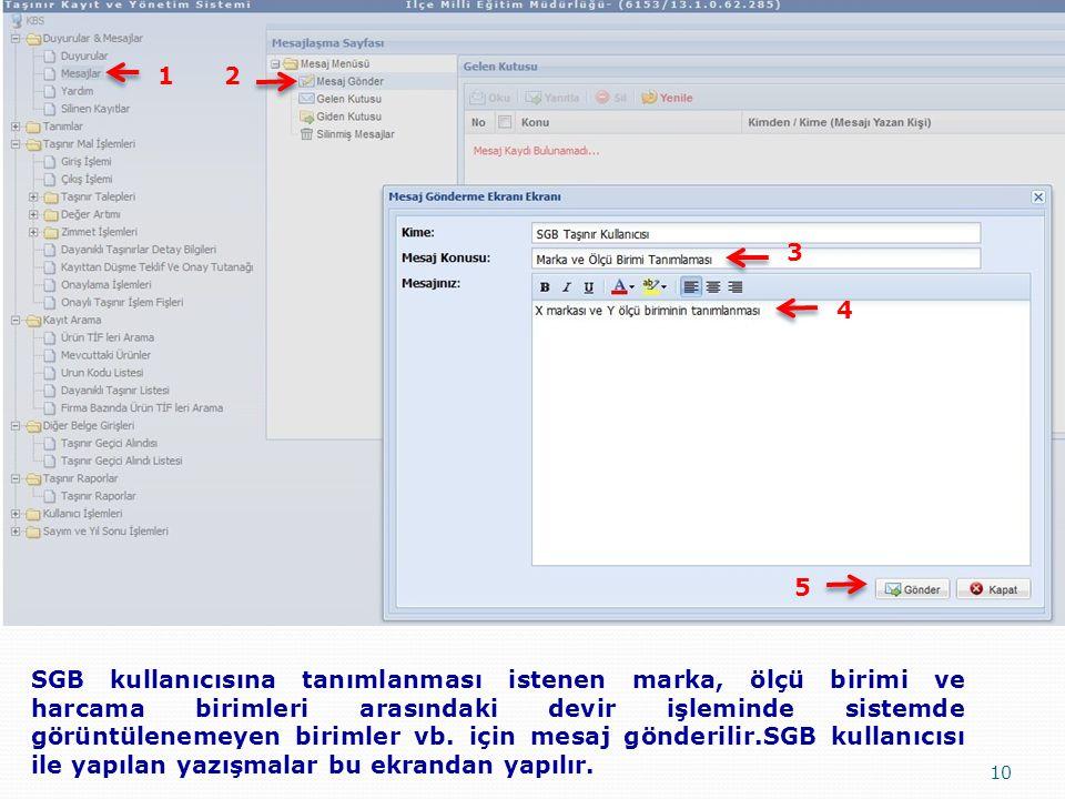 10 SGB kullanıcısına tanımlanması istenen marka, ölçü birimi ve harcama birimleri arasındaki devir işleminde sistemde görüntülenemeyen birimler vb. iç