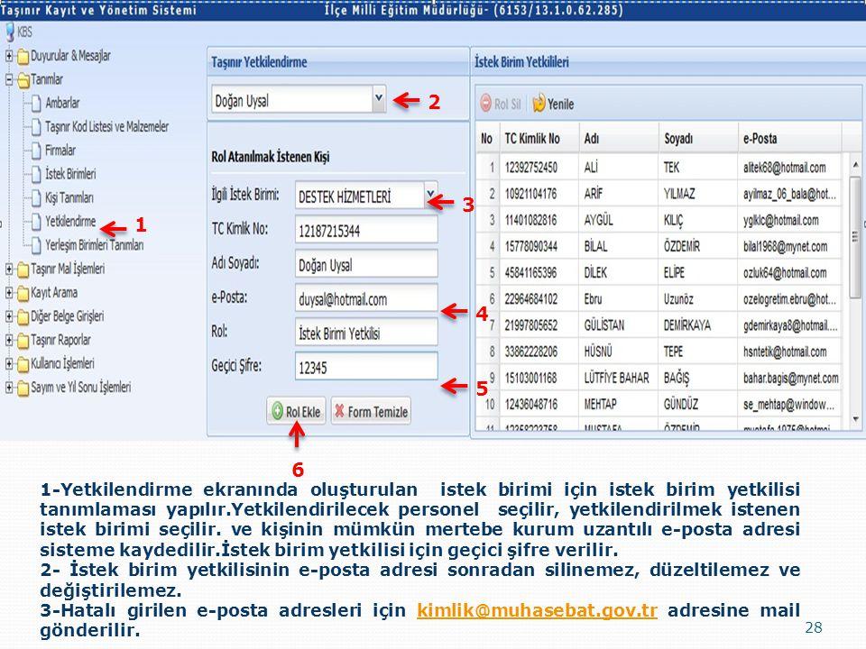 28 1-Yetkilendirme ekranında oluşturulan istek birimi için istek birim yetkilisi tanımlaması yapılır.Yetkilendirilecek personel seçilir, yetkilendiril