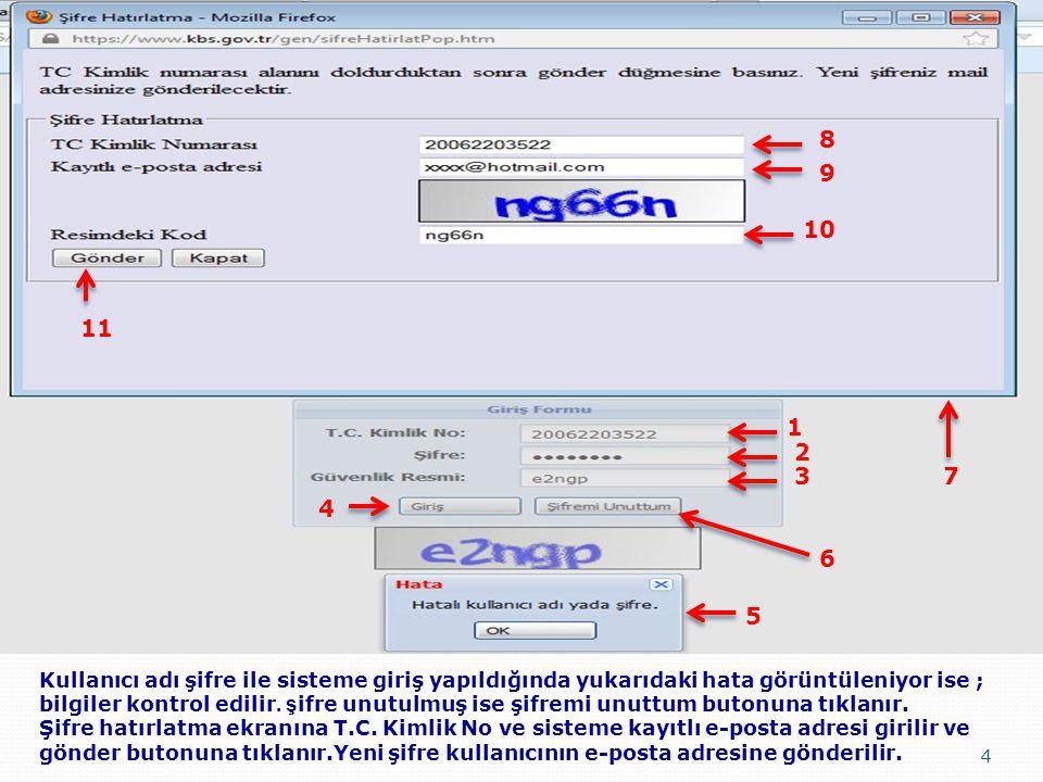 4 Kullanıcı adı şifre ile sisteme giriş yapıldığında yukarıdaki hata görüntüleniyor ise ; bilgiler kontrol edilir. ş ifre unutulmuş ise şifremi unuttu
