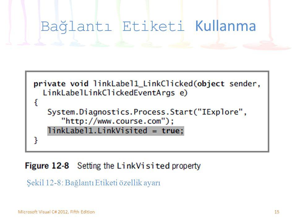 15Microsoft Visual C# 2012, Fifth Edition Bağlantı Etiketi Kullanma Şekil 12-8: Bağlantı Etiketi özellik ayarı