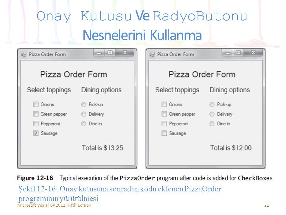 21Microsoft Visual C# 2012, Fifth Edition Onay Kutusu Ve RadyoButonu Nesnelerini Kullanma Şekil 12-16: Onay kutusuna sonradan kodu eklenen PizzaOrder programının yürütülmesi