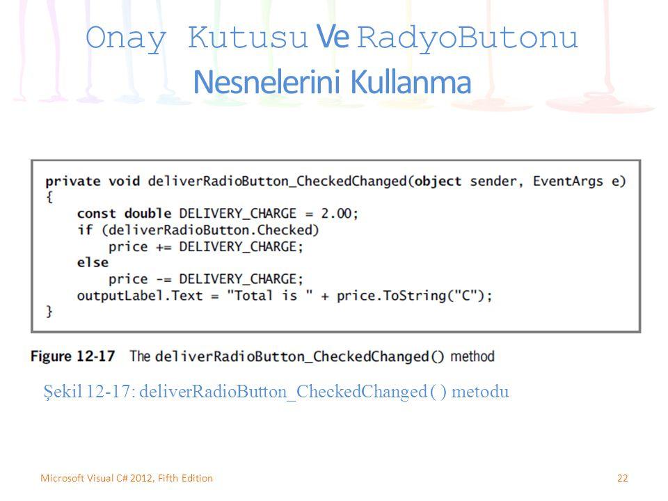 22Microsoft Visual C# 2012, Fifth Edition Onay Kutusu Ve RadyoButonu Nesnelerini Kullanma Şekil 12-17: deliverRadioButton_CheckedChanged ( ) metodu