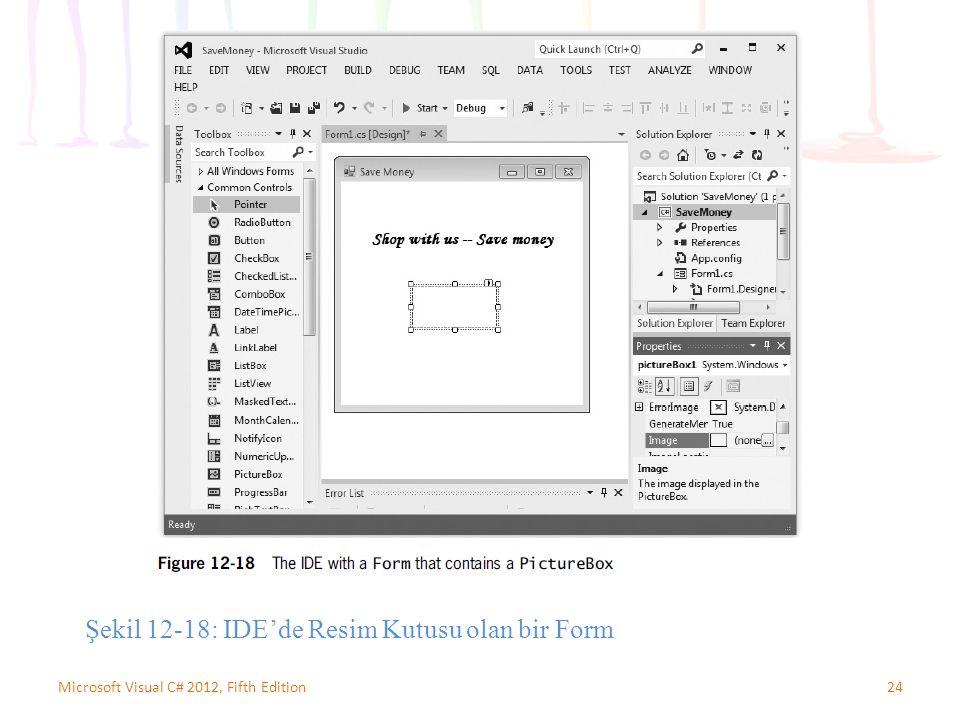 24Microsoft Visual C# 2012, Fifth Edition Şekil 12-18: IDE'de Resim Kutusu olan bir Form