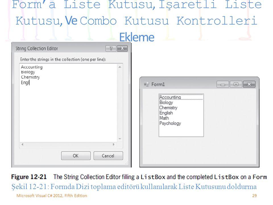 29Microsoft Visual C# 2012, Fifth Edition Form'a Liste Kutusu, İşaretli Liste Kutusu, Ve Combo Kutusu Kontrolleri Ekleme Şekil 12-21: Formda Dizi toplama editörü kullanılarak Liste Kutusunu doldurma