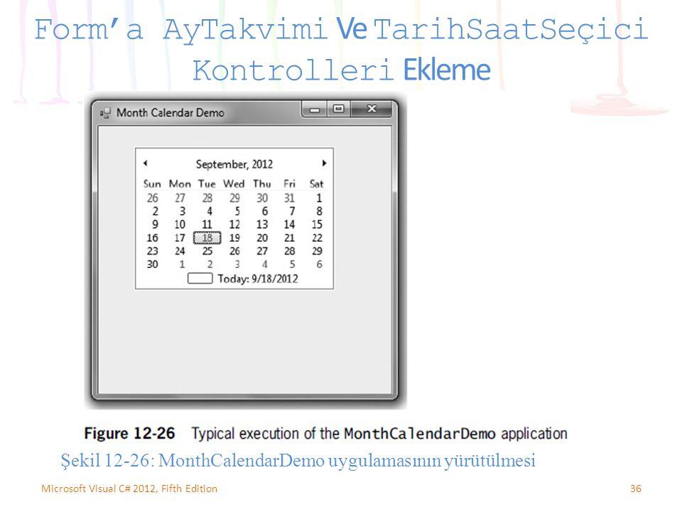 36Microsoft Visual C# 2012, Fifth Edition Form'a AyTakvimi Ve TarihSaatSeçici Kontrolleri Ekleme Şekil 12-26: MonthCalendarDemo uygulamasının yürütülm