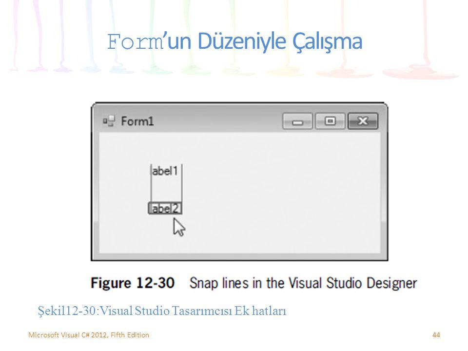 Form 'un Düzeniyle Çalışma 44Microsoft Visual C# 2012, Fifth Edition Şekil12-30:Visual Studio Tasarımcısı Ek hatları
