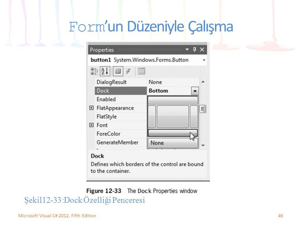 Form 'un Düzeniyle Çalışma 46Microsoft Visual C# 2012, Fifth Edition Şekil12-33:Dock Özelliği Penceresi