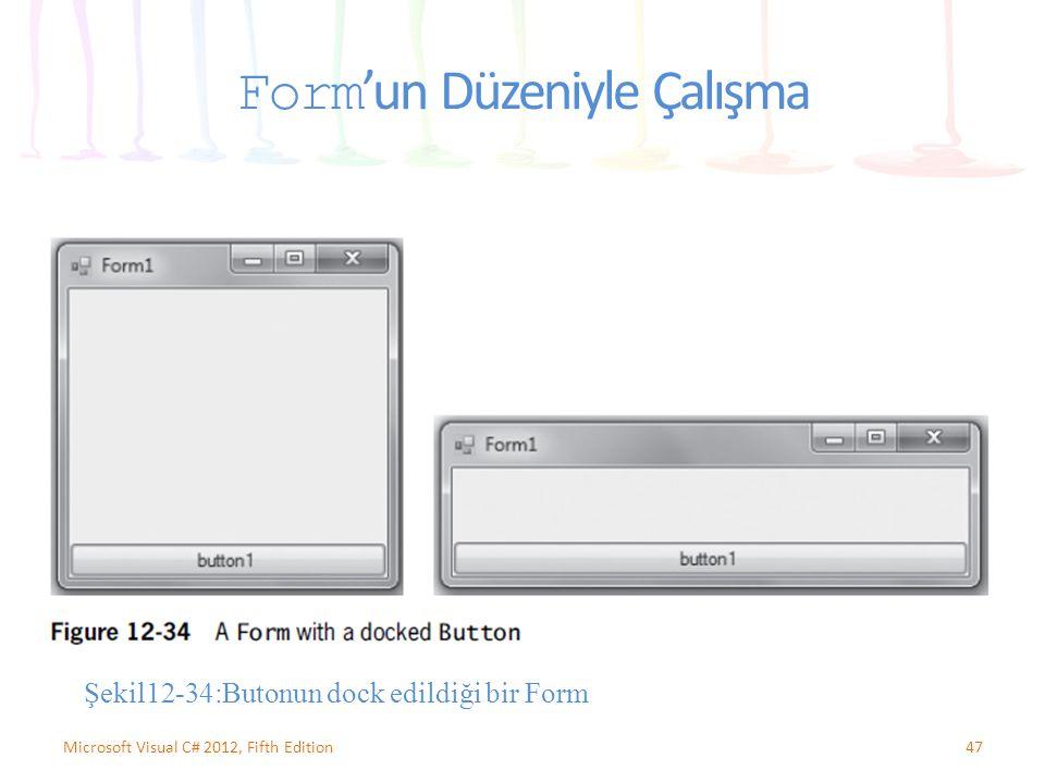 Form 'un Düzeniyle Çalışma 47Microsoft Visual C# 2012, Fifth Edition Şekil12-34:Butonun dock edildiği bir Form