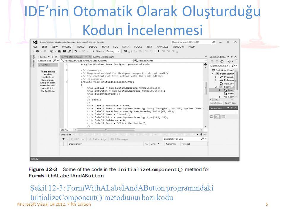 5 IDE'nin Otomatik Olarak Oluşturduğu Kodun İncelenmesi Şekil 12-3: FormWithALabelAndAButton programındaki InitializeComponent( ) metodunun bazı kodu