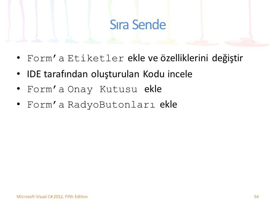 Sıra Sende Form'a Etiketler ekle ve özelliklerini değiştir IDE tarafından oluşturulan Kodu incele Form'a Onay Kutusu ekle Form'a RadyoButonları ekle 54Microsoft Visual C# 2012, Fifth Edition