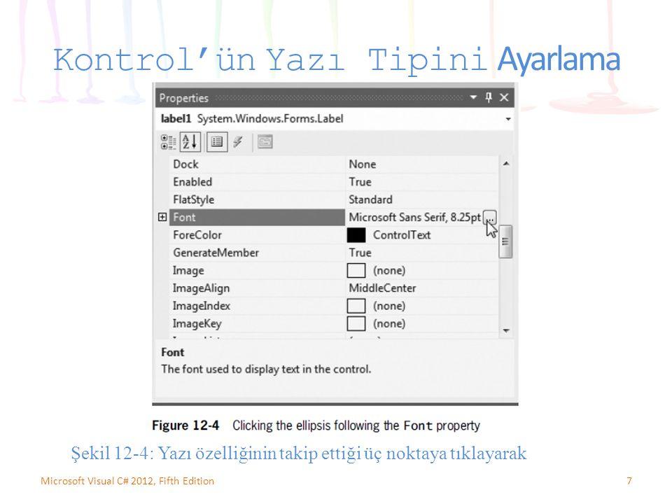 Kontrol'ün Yazı Tipini Ayarlama 7Microsoft Visual C# 2012, Fifth Edition Şekil 12-4: Yazı özelliğinin takip ettiği üç noktaya tıklayarak