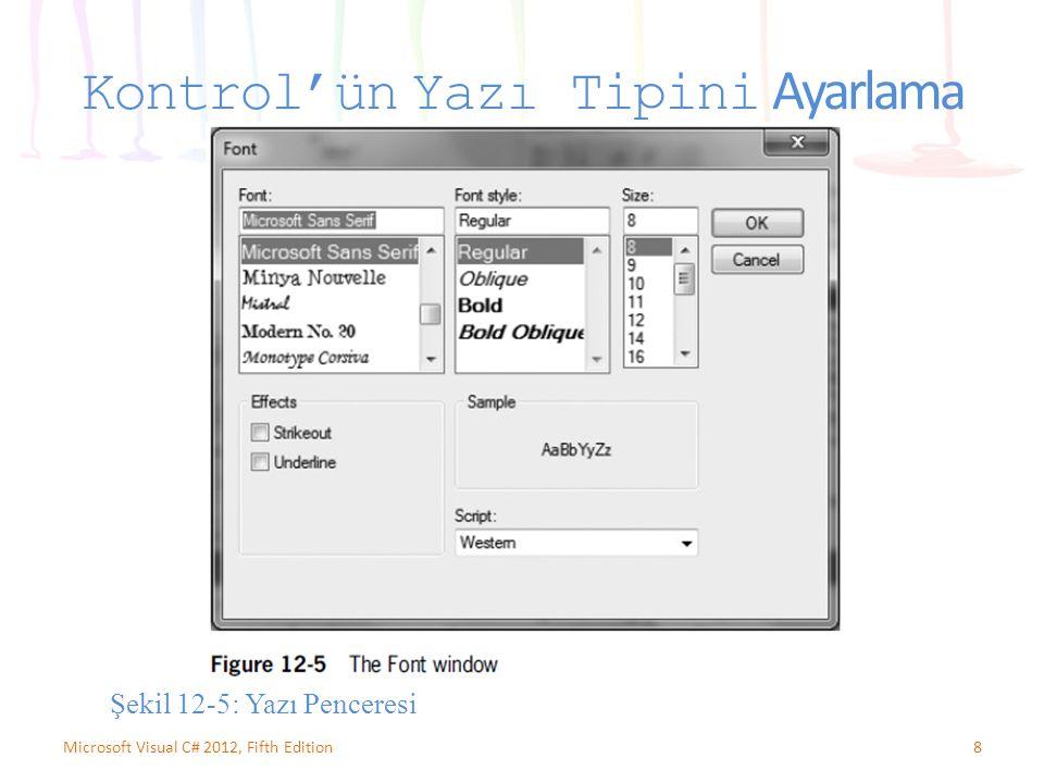 8Microsoft Visual C# 2012, Fifth Edition Kontrol'ün Yazı Tipini Ayarlama Şekil 12-5: Yazı Penceresi