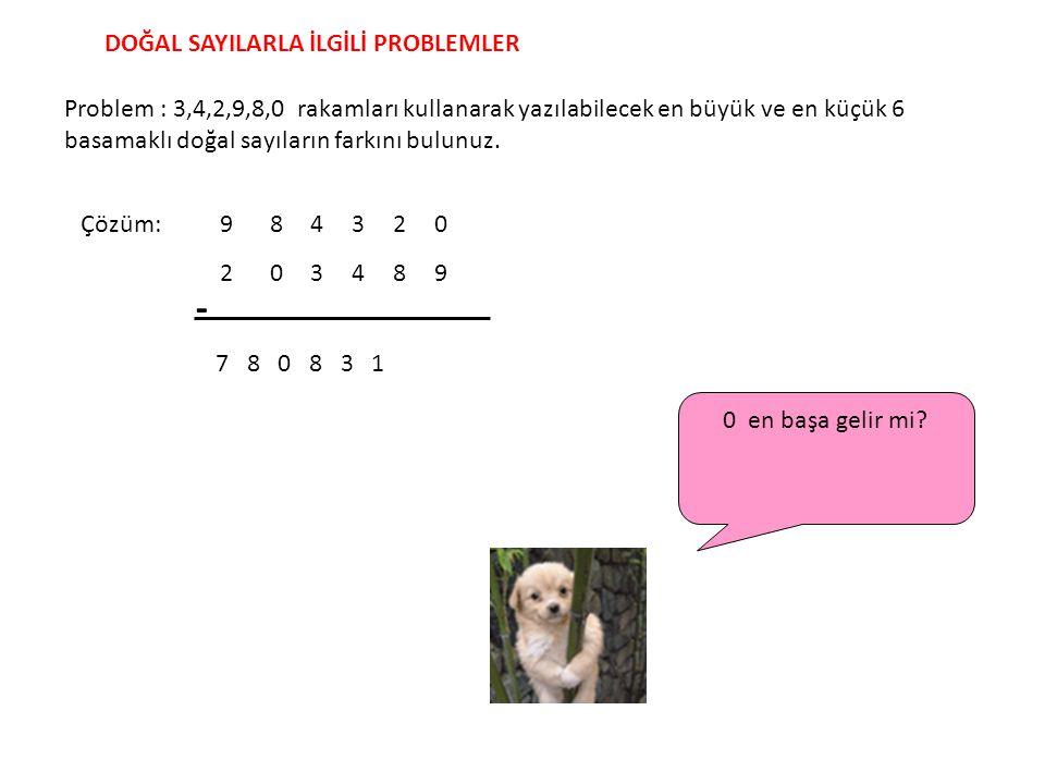 Problem : 3,4,2,9,8,0 rakamları kullanarak yazılabilecek en büyük ve en küçük 6 basamaklı doğal sayıların farkını bulunuz. DOĞAL SAYILARLA İLGİLİ PROB